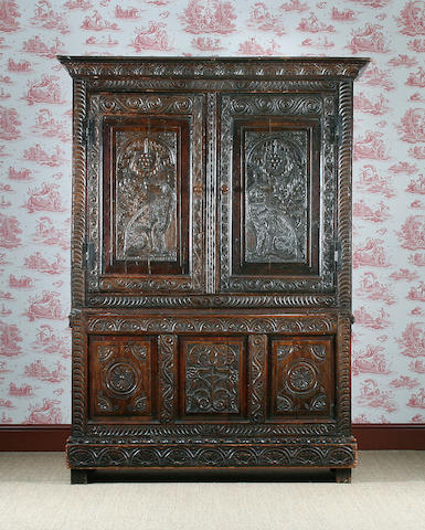 An 18th Century  oak press cupboard