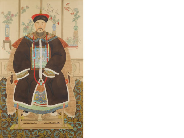 Chinese School: a pair of Ancestor portraits