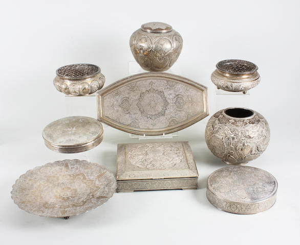 A collection of Eastern metalwares Some with stamped marks,  (9)
