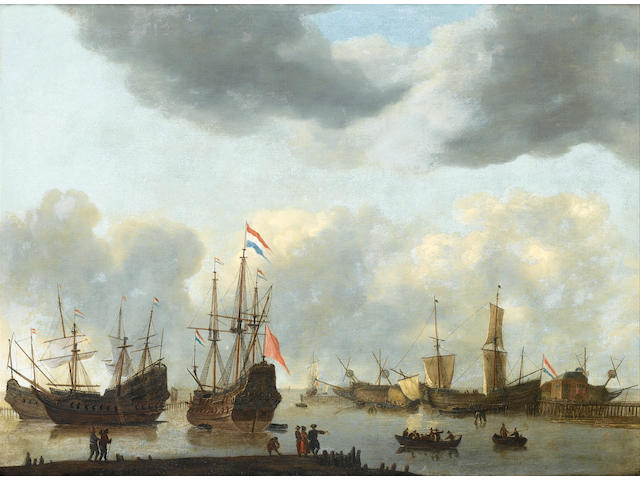 Regnier Nooms, called Zeeman (Amsterdam 1623-1667) Dutch shipping in calm sees under a stormy sky