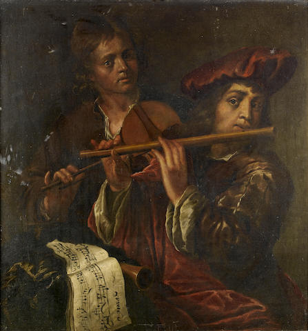 Circle of Jan Cossiers (Antwerp 1600-1671) Young musicians playing a violin and a flute
