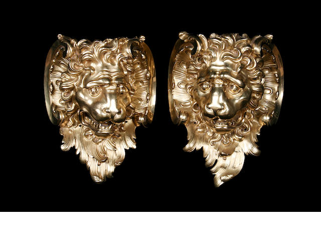 A pair of 19th century French gilt bronze wall mountsin the rococo style