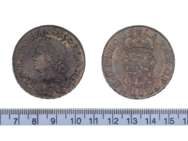 Oliver Cromwell, Crown, 1658, draped bust left,
