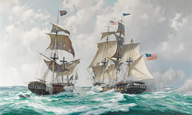 Derek George Montague Gardner (British, 1914-2007) The capture of H.M.S. Macedonian by the American frigate United States off Madeira, 25th. October 1812