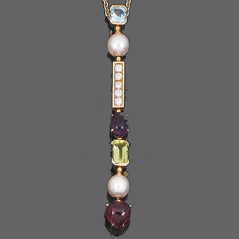 A diamond and gem-set pendant necklace, by Bulgari