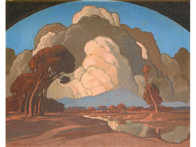 Jacob Hendrik Pierneef (South African, 1886-1957) Apies River, Pretoria, with Meintjeskop beyond