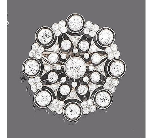 A diamond target brooch,