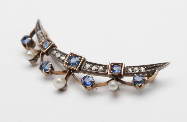 A sapphire, pearl and diamond brooch,