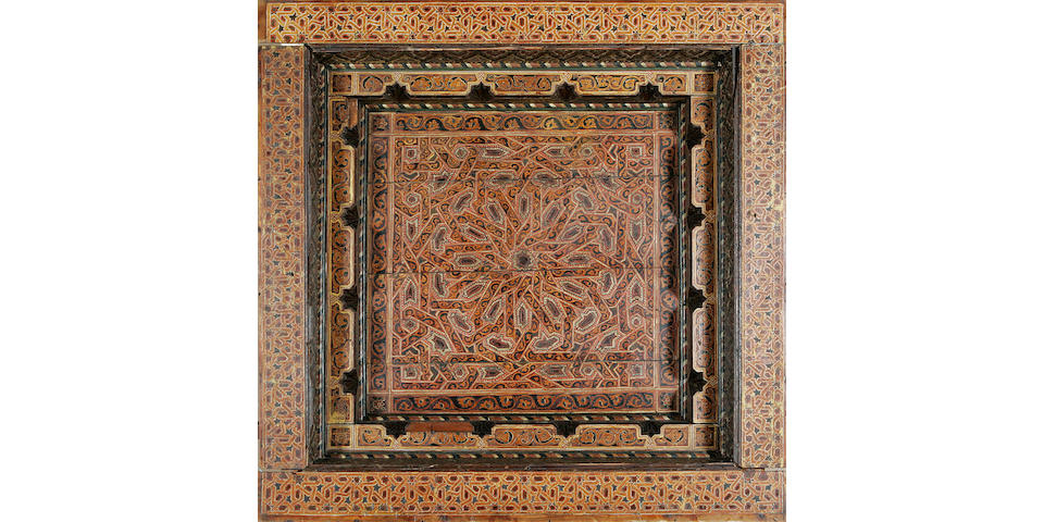 A massive Mudéjar style polychrome painted wood ceiling Panel Tunisia, 17th Century
