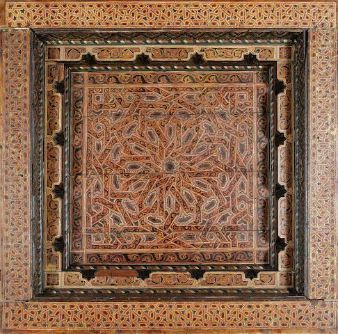 A massive Mudéjar style polychrome painted wood ceiling Panel Tunisia, 17th Century