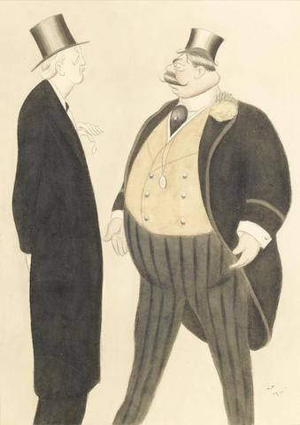Max Beerbohm (British, 1872-1956) Turning Away Wrath 40 x 28 cm. (15 3/4 x 11 in.)