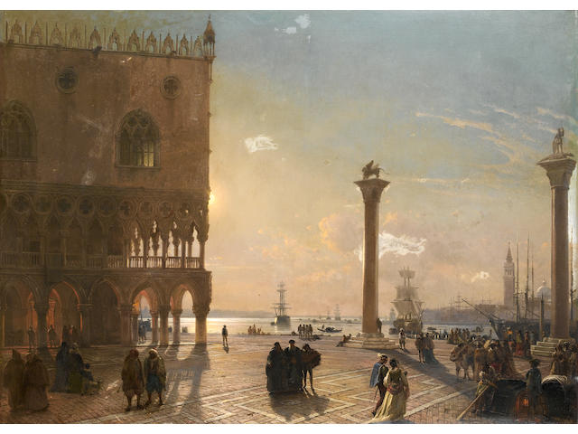 Federico Nerly (Italian, 1824-1919) The Piazza San Marco by moonlight