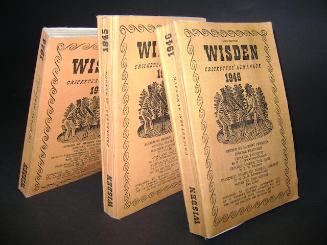 1944, 1945, 1946 Wisden cricket almanacks