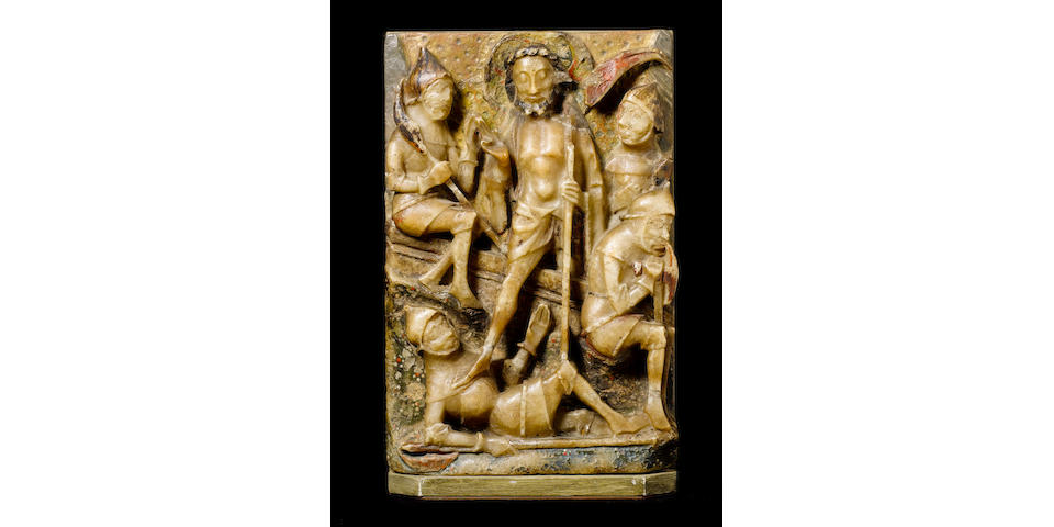 A 15th century English Nottingham alabaster relief depicting the Resurrection