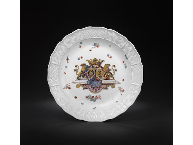 A very large Meissen charger from the Sulkowski service circa 1735-38