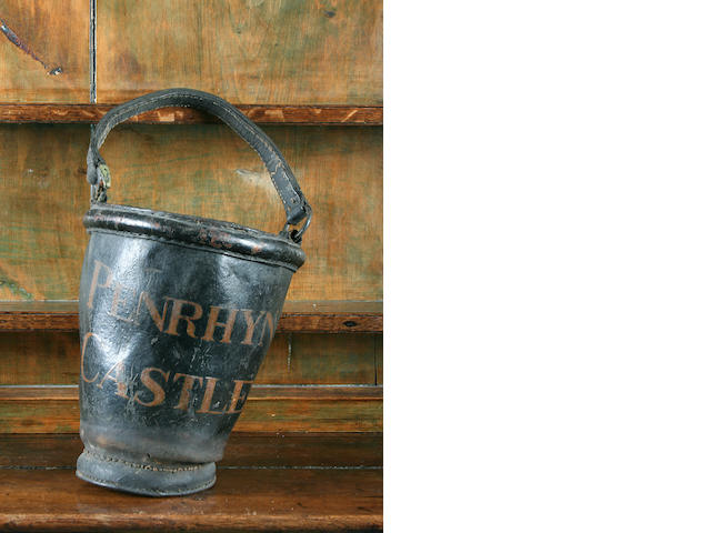 A 19th Century Penrhyn Castle leather fire-bucket