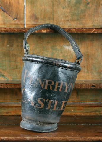 A 19th Century Penrhyn Castle leather fire-bucket