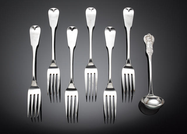 A quantity of George IV / Victorian silver King's pattern flatware various makers and dates,