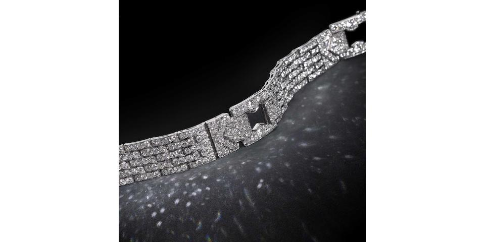 An art deco diamond strap bracelet, by Cartier,