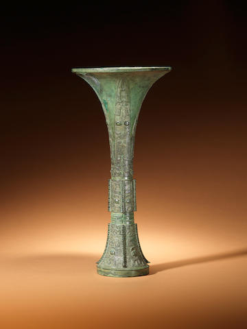 An archaic bronze ritual wine vessel, gu Late Shang Period, 12th-11th cenutry BC