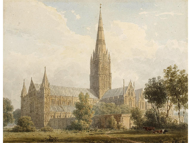 DODSWORTH (WILLIAM) An Historical Account of the Episcopal See, and Cathedral Church of Sarum, or Salisbury, LARGE PAPER COPY, EXTRA-ILLUSTRATED WITH THE ORIGINAL WATERCOLOUR DRAWINGS