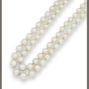 A two-row pearl necklace with diamond clasp,
