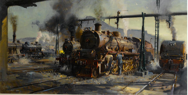 Terence Cuneo (British, 1907-1996) Train Yard near Table Mountain, Cape Town 61 x 119.5 cm. (24 x 47 in.)