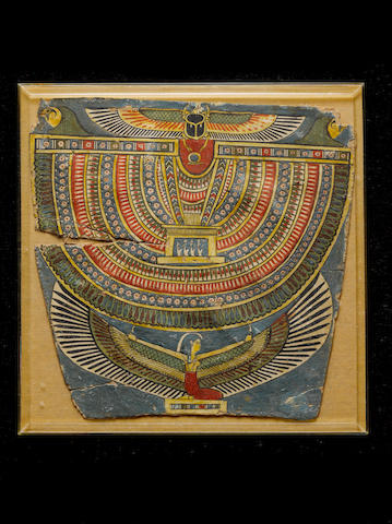 An Egyptian polychrome painted cartonnage pectoral section