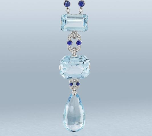A fine aquamarine, sapphire and diamond sautoir, by Cartier,