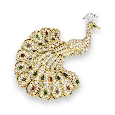 A gem-set peacock brooch, by Cartier