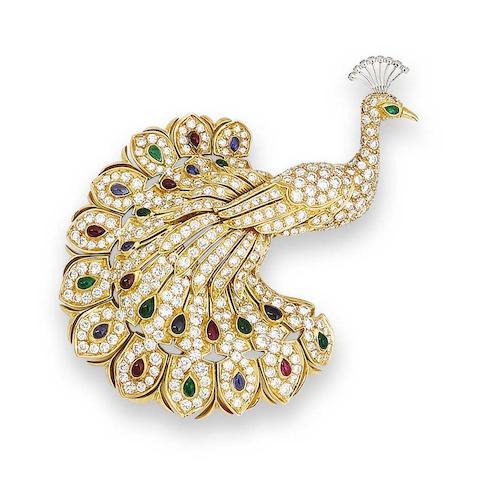 A gem-set peacock brooch, by Cartier