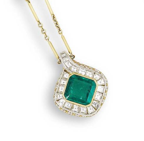An emerald and diamond pendant/necklace