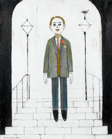 Laurence Stephen Lowry, R.A. (British, 1887-1976) Man standing on steps 50.8 x 40.6 cm. (20 x 16 in.)