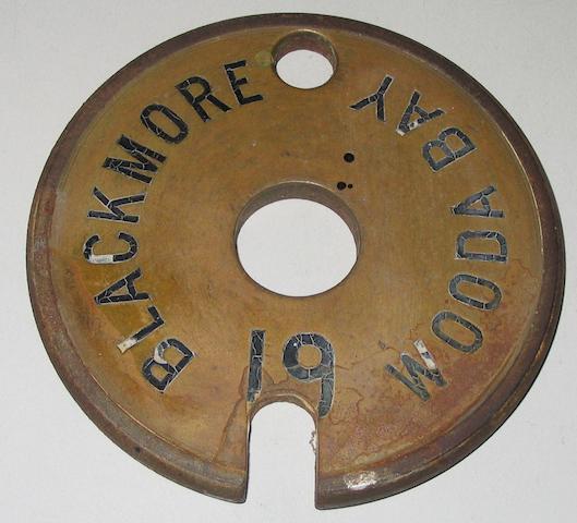 Lynton & Barnstaple Railway Tyers No. 7A brass single line tablet Blackmore to Wooda Bay 19