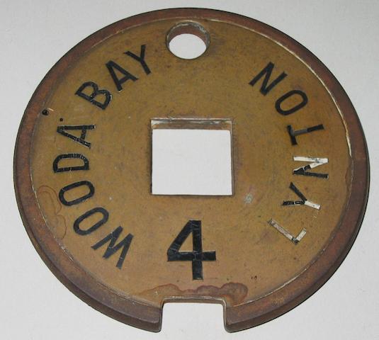Lynton & Barnstaple Railway Tyers No. 7A brass single line tablet Wooda Bay to Lynton 4