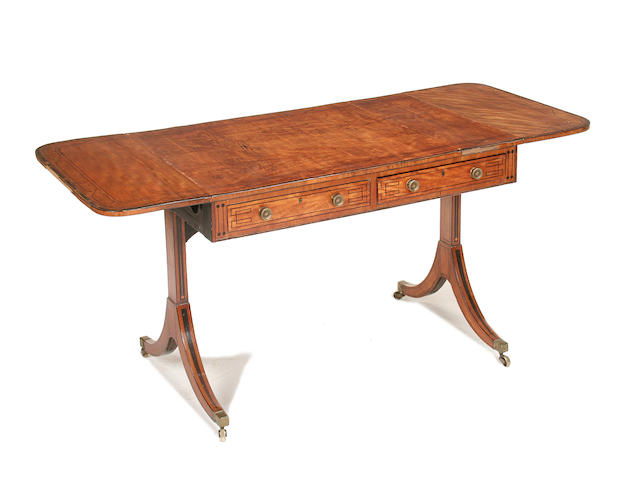 A George III satinwood and calamander crossbanded sofa table