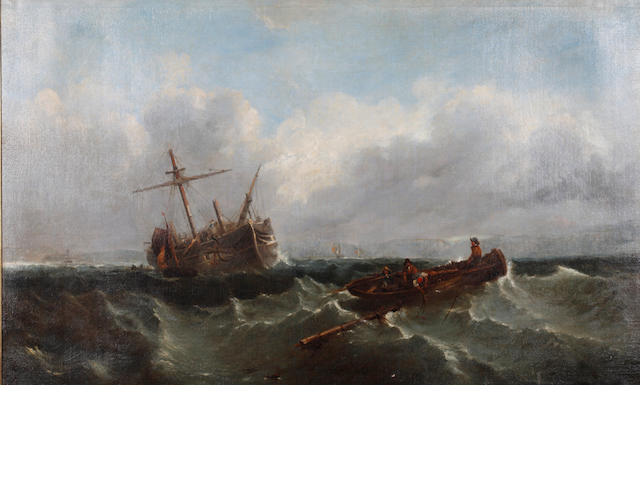 Attributed to Clarkson Stanfield, RA (British, 1793-1867) Fishing boats off a coast