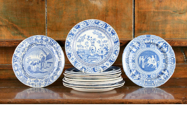 Twelve blue printed dessert or side plates, circa 1825-35