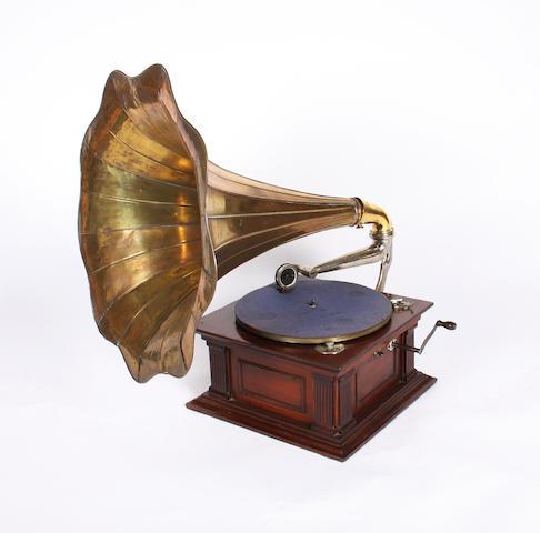 An 'Ionic' mahogany gramophone
