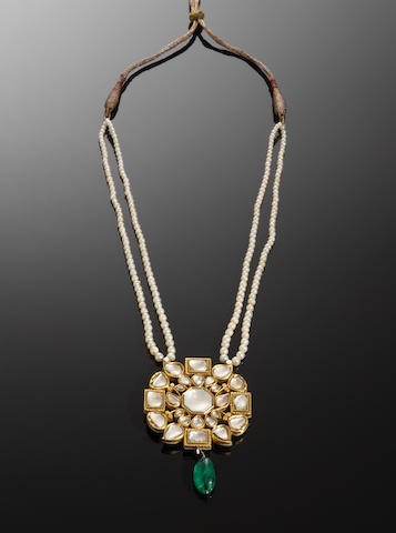 An impressive diamond-set and enamelled gold Pendant Necklace Northern India, late 19th Century