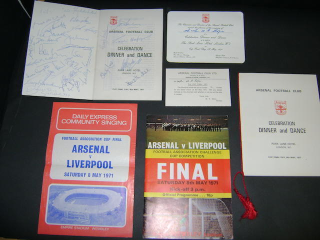 1970's Arsenal hand signed menu's, programme and invitation