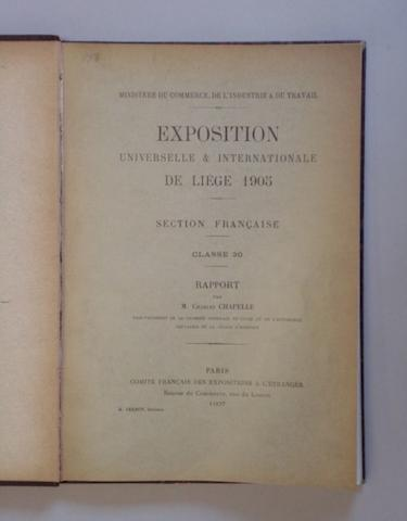 A 1905 Exposition de Liege catalogue,