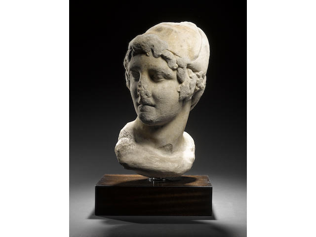 A large Hellenistic marble bust of a warrior