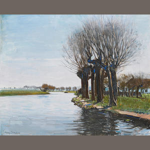 Frans David Oerder (Dutch, 1867-1944), pollarded willows, oil