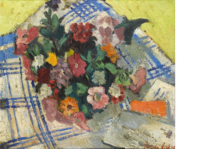 Freida Lock (South African, 1902-1962), still life of flowers, oil on canvas, signed and dated