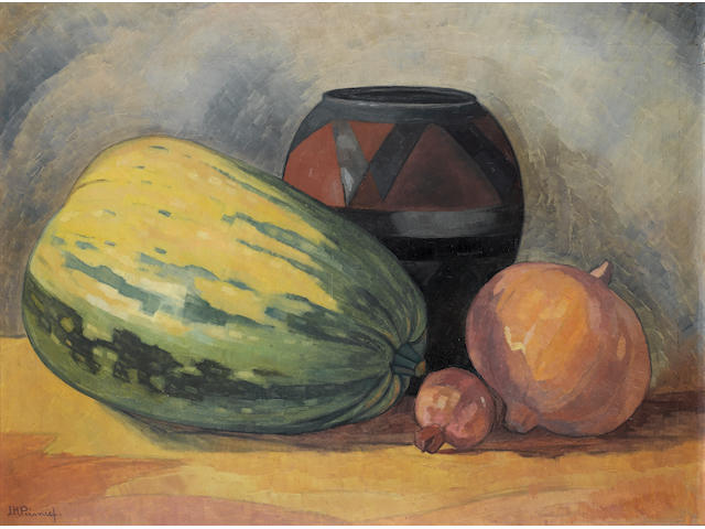 Jacob Hendrik Pierneef (South African, 1886-1957) Still life of gourds, a pomegranate and an African clay pot