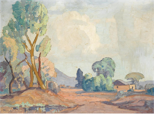 Jacob Hendrik Pierneef (South African, 1886-1957) Landscape with dwelling