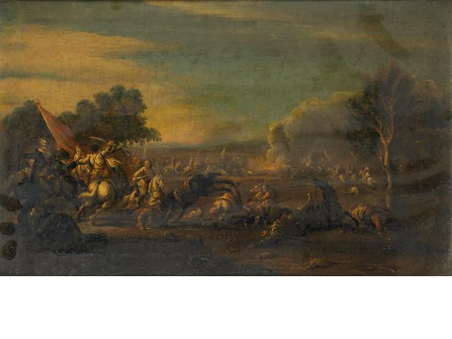 Circle of Francesco Graziani (active Naples and Rome late 17th and early 18th Centuries) Cavalry battles  (2)