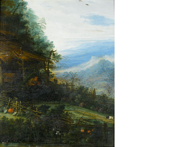 Attributed to Jan Brueghel the Younger (Antwerp 1601-1678) Mountainous landscape with figure tending a garden