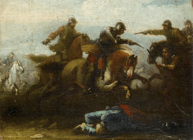 Circle of Jacques Courtois, called il Borgognone (Saint-Hyppolite 1621-1676 Roma) A cavalry skirmish
